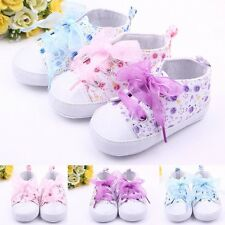 Newborn Toddler Baby Girls Kids Floral Lace Up Crib Shoes Soft Sole Prewalker