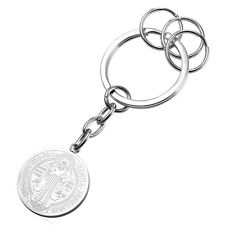18KGP Stainless Steel Saint Benedict Medal Keychain Key Chain Keyring Key Clasp