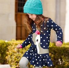 Baby Girls Long Sleeve Lace Dress One-piece Deer Cotton Spring Summer 1-6 years
