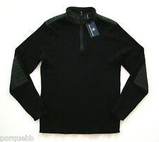 Hart Schaffner Marx Black Ribbed Wool Patches 1/4 Zip Sweater