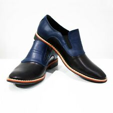 Modello Lecco - Handmade Colorful Italian Leather Oxford Dress Shoes Navy Blue