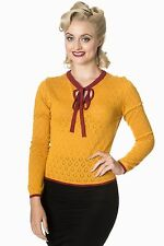 Mustard Top Yellow Knit Jumper Banned Retro Vintage style 40s 50s Rockabilly WOW
