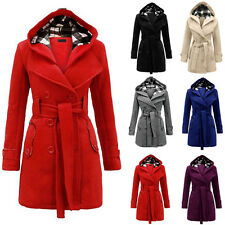 Women Long Sleeve Belted Trench Coat Bodycon Hooded Belted Winter Warm Jacket