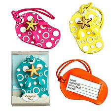 Colorful FLIP FLOP Luggage TAG  w/ CIRCLES & STARFISH EMBELLISHMENT Beach THEMED