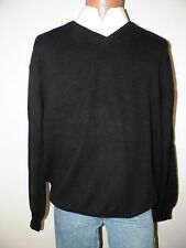 mens sweater-Alan flusser-XL-black-vneck-100% cashmere