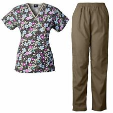 MedGear Womens Scrubs Print Top & Pants Set, Medical Uniform, Nurse Uniform FLFW