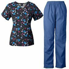 MedGear Womens Scrubs Print Top & Pants Set, Medical Uniform, Nurse Uniform SCHB