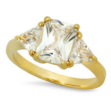Gold Plated Emerald-Cut Crystal-Clear Clear CZ Three-Stone Ring