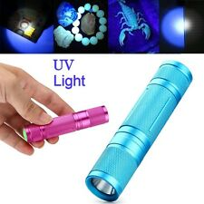 UV Flashlight 365nm Purple Ultra Violet LED Mini Light Torch Blacklight Lamp AA