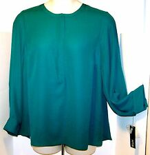 NEW $44 Tag APT 9 Size 1X 2X Long Sleeves Placket HIDDEN Front ZIPPER Blouse