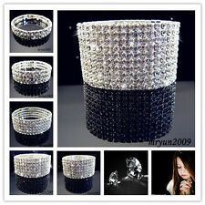 VEGAS CLEAR RHINESTONE STRETCH BANGLE BRACELET 1 ROW ~ 10 ROW Bridal Jewelry
