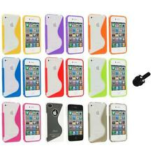 TPU Color Clear S-Shape S-Line Rubber Case Cover+Mini Stylus for iPhone 4S 4G 4