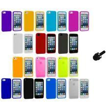 Color Silicone Gel Rubber Soft Skin Case Cover+Mini Stylus for iPhone 5 5S