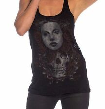 Sullen Angels Trance Burnout Tank Top Womens Woman Skull Roses Flowers Tattoo