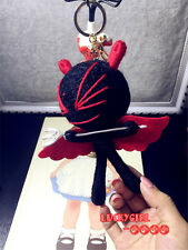 free shipping black bag pendant little knitting monster doll key ring key chain