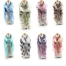 Women Voile Dot Butterfly Floral Printed Scarf Shawl Wrap Large Beach Elegant