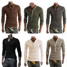 Fashion Men's Summer V-Neck Slim Fit Button Casual Shirts Solid Tops Blouse