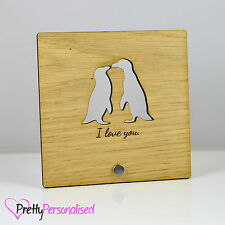 Personalised Penguin Penguins in Love Plaque Present Gift Print Valentines Day