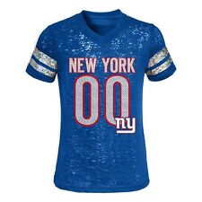 NWT NFL NY Giants Little Girls Royal Blue Burnout Sparkly Foil Logo Tee:Size 5/6