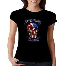 Biker Fitted Shirt Live Free Or Die American Skull JUNIORS