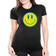 Smiley Face Fitted Shirt Peace Sign Love Music JUNIORS