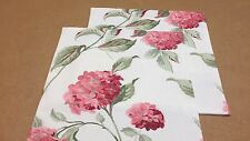 TWO  HANDMADE REVERSIBLE CUSHION COVERS IN LAURA ASHLEY HYDRANGEA CRANBERRY
