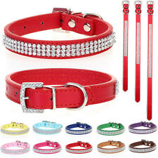 Dog Puppy Cat Pet Collars Diamante Rhinestone Bling PU Leather Band