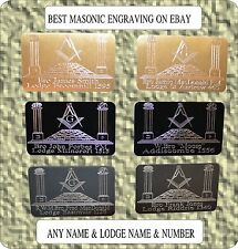 MASONIC PERSONALISED BRIEFCASE ID PLATE PLAQUE SIGN OWN NAME LODGE NAME & NO.