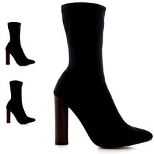 Womens Elegant Fashion Pointed Toe Dress Black Stacked Heel Ankle Boots US 5-12