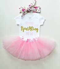 Baby Girl Gold Glitter & Pink Girls Tutu Dress Shirt Headband Outfit Set Baptism