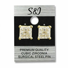 1 Pair Gold or Silver 316L Stainless Steel Multi Faceted Square CZ Stud Earring