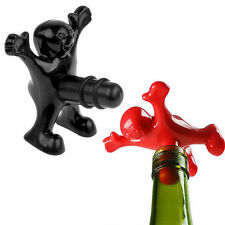 Newest Novelty Happy Man Black Red Wine Bottle Stopper Plug Bar Kitchen Tools