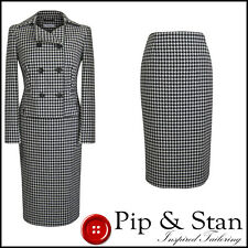 NEXT UK8 US4 BLACK WHITE WOOL PENCIL SKIRT SUIT 50S VINTAGE INSPIRED WOMENS SIZE