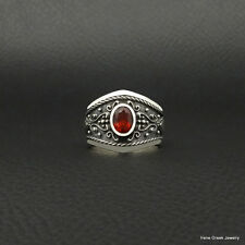 RARE NATURAL GARNET BYZANTINE STYLE 925 STERLING SILVER GREEK HANDMADE ART RING