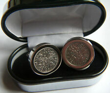 Birthday Present - patented, lucky silver sixpence cufflinks - craftsman made