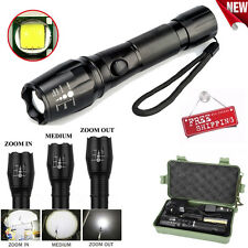 5000LM CREE XM-L T6 LED Torch Zoomable Tactical Flashlight Lamp 18650 & Charger