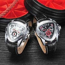 Fashion Cool Triangle Automatic Mens Mechanical Watch Leather Wristwatch V6P3