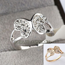 Fashion Rhinestone Butterfly Ring 18KGP CZ Crystal Size 5.5-9