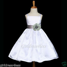 WHITE/HOLIDAY SILVER GREY WEDDING PARTY FLOWER GIRL DRESS 12M 18M 2 4 6 8 10 12