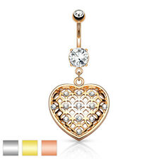 Crystal Set Tribal Net Heart Dangle 316L Surgical Steel Belly Bar / Navel Ring