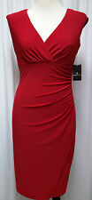 NWT Red Sleeveless Dress V-Neckline Ronni Nicole Size 8 Retail $68
