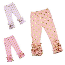 Icing Ruffle Pants Baby Girls Toddler Kids Golden Dots Leggings Bottoms Trousers