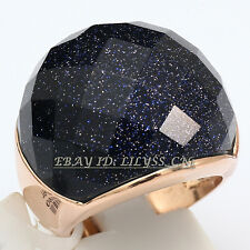 Fashion Simulated Faceted Gemstone Ring 18KGP Size 9