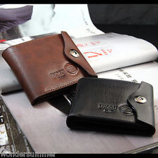 Mens Black Leather Thin Bifold Wallet Money Clip Card Case Trifold Holder Purse