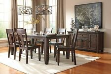Brown Finish Casual 7pc Pine Wood Ashley Dining Room Set Cabriole Legs Furniture
