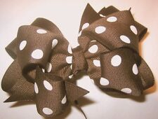 Brown Dots Boutique Hair Bow Double Layered BIG Hairbow