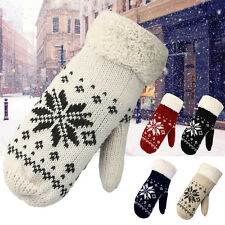 Ladies Wool Cashmere Winter Snowflake Mittens Knitted Fleece Lined Fur Gloves