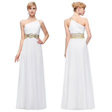 Sexy White Long Formal Bridesmaid Prom Wedding Party Cocktail Dress Evening Gown