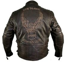 Xelement B7244 Retro Brown Classic Embossed Ditressed Leather Motorcycle Jacket