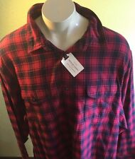 NWT Big & Tall Sonoma Red Plaid warm soft  Flannel Button-Down Shirt  4XB  $48